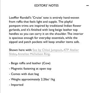 Loeffler Randall Bags - LOEFFLER RANDALL Raffia Leather Pom Cruise Tote